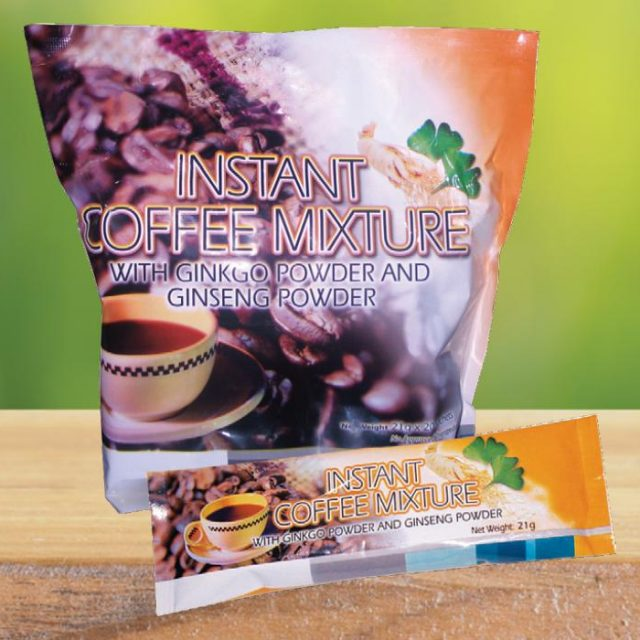 Instant Coffee Mixture with Ginkgo Powder and Ginseng Powder